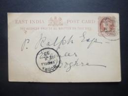East India Post Card Quarter Anna Postmark BOGRA 1899 - Ohne Zuordnung