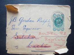 India QV Prepaid Half Anna Postmark SONTHA PAROS To SILCHAR / Redirected Sarda 1912 - Ohne Zuordnung