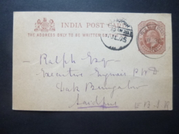 India KEVII Post Card Quarter Anna Postmarks RANGPUR / SAIDPUR 1905 - Ohne Zuordnung