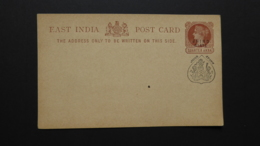 INDIA JHIND STATE QV EAST INDIA POST CARD With JHIND STATE SEAL MINT  QUARTER ANNA - Ohne Zuordnung