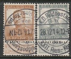Belgium 1912 Sc 97,99 Mi 94,96 Feldpost Cancels Gummed - 1912 Pellens