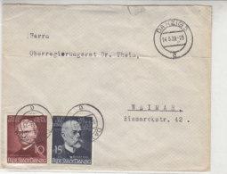 Brief Mit MENDEL, BOSCH Marken Aus DANZIG 14.5.39 Nach Weimar / War Gefaltet - Danzig