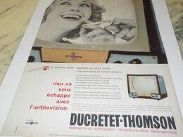 ANCIENNE PUBLICITE THOMSON DUCRETET 1958 - Television