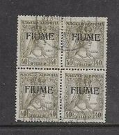 FIUME Opt On Hungary 40 Filler, Block Of 4, Used, - Unclassified