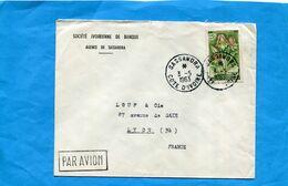 Marcophilie- Lettre-Cote D'ivoire-sté Ivoirienne De Banque>France Cad Sassandra-1963-stamps-Flower Eulophia - Côte D'Ivoire (1960-...)