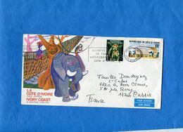"""Marcophilie- Lettre -Cote D'ivoire>France Cad  +flamme """"  Timbre Antitube""""-1978-2-stamps-Flower +poste - Côte D'Ivoire (1960-...)"""