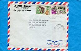 Marcophilie- Lettre -Cote D'ivoire>France Cad  Cocody-1967-2-stamps-ananas+sculpteur Sur Bois - Côte D'Ivoire (1960-...)