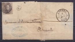"""L. Datée 5 Décembre 1860 De FLAVION Affr. N°10A D36 Càd ANTHEE /5 DEC 1860 Pour PHILIPPEVILLE - Boîte """"C"""" (au Dos: Càd A - 1858-1862 Medallions (9/12)"""