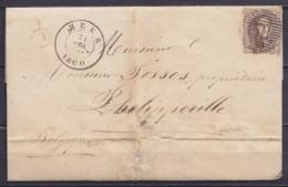 """LSC (sans Texte) Affr. N°10A P58 (superbe) Càd HEER /21 DEC 1860 Pour PHILIPPEVILLE - Boîte """"O""""  (au Dos: Càd Arrivée PH - 1858-1862 Medallions (9/12)"""