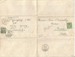 SAGE 5C N°106 PARIS 1899 SEUL LETTRE POUR SUISSE + RETOUR HELVETIA 5C BERNEX POUR PARIS - Storia Postale