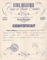 ECOLE BELLECOUR  19 PLACE BELLECOUR  A LYON  DIPLOME DE COUPE ET HAUTE COUTURE   1945 - Diploma's En Schoolrapporten
