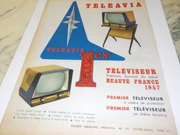 ANCIENNE PUBLICITE PREMIER TELEVISION TELEAVIA   1957 - Television