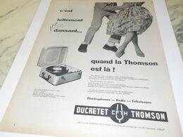 ANCIENNE PUBLICITE PLUS DANSANT THOMSON DUCRETET 1958 - Musica & Strumenti