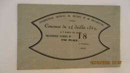 PLACE / CONCOURS / CONSERVATOIRE IMPERIAL DE MUSIQUE ET DE DECLAMATION / 24 Juil. 1869 - Tickets - Vouchers