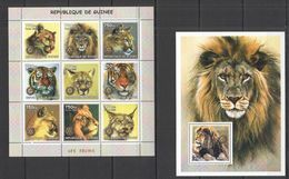 NS003 2002 GUINEA FAUNA ANIMALS LES FELINS WILD CATS TIGERS LIONS 1KB+1BL MNH - Felini