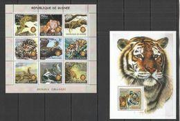 NS005 2002 GUINEA FAUNA ANIMALS WILD CATS TIGERS LIONS INTERNATIONAL KB+BL MNH - Felini
