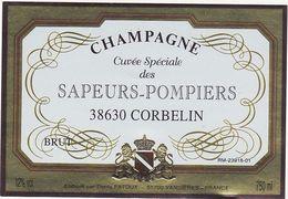 Etiquette Champagne Cuvée Spéciale Des SAPEURS-POMPIERS 38630 CORBELIN - BRUT - 750 Ml - Champagne