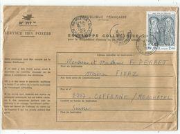 TABLEAU 2FR SAINT GENIS  SEUL LETTRE N°717 ENVELOPPE COLLECTRICE 06 MENTON 28.7.1976 POUR SUISSE - Marcophilie (Lettres)
