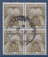 Timbre Taxe N°92 Oblitéré En Bloc De 4 Type Gerbe De Blé République Française - 1859-1955 Usados