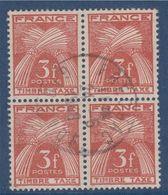Timbre Taxe N°83 Oblitéré En Bloc De 4 Type Gerbe De Blé France - 1859-1955 Usados