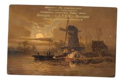Grand Chromo  Publicitaire : Calendrier 1883 Au Verso, Pub MAGASIN CHAUSSURES LAVEX à BOURGES Visuel MOULIN - Groot Formaat: ...-1900