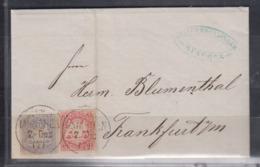 Bayern 1867 Kpl. Faltbrief Farbfrankatur 15+16 Ab München Bahnhof Nach Franfurt/Main (rs.Ak-o) - Bayern