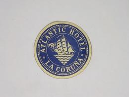 Cx13 CC3) España Spain ATLANTIC HOTEL LA CORUÑA Hotel Label Etiquette Diam.8cm - Etiketten Van Hotels