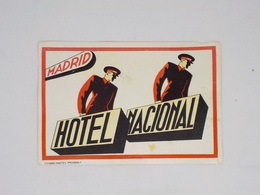 Cx13 CC4) España Spain HOTEL NACIONAL Madrid Hotel Label Etiquette 10x15cm Pequeno Daño - Etiketten Van Hotels