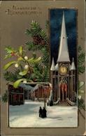 Cp Frohe Weihnachten, Mistelzweig, Tannenzweig, Stechpalmenzweig, Kirche - Noël