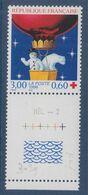 Au Profit De La Croix Rouge Fêtes De Fin D'année Ours Blanc Bonhomme De Neige En Ballon N°3039 Neuf BdF Guilloché HEL-2 - Frankreich