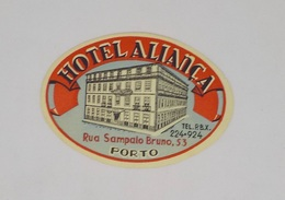 Cx13 CC11) Portugal HOTEL ALIANÇA Porto Etiquette Hotel Label 6x8cm - Etiketten Van Hotels