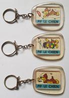 PORTE CLES - LOT DE 3 - PIF LE CHIEN - VAILLANT - FLEUR - SAUCISSE - COIFFEUR - ANNEE 70 - Objets Publicitaires