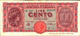 19986) BANCONOTA 100 LIRE ITALIA TURRITA 10-12-1944 -vedi Foto - 100 Lire
