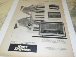 ANCIENNE  PUBLICITE  GAMME RADIO  RIBET DESJARDINS 1958 - Radio & TSF
