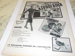 ANCIENNE  PUBLICITE MAGAZINE SONORE SONORAMA 1958 - Radio & TSF