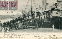 CASTRIES , ST-LUCIA , H . M . Ship Coaling At Northern Wharf - Sainte-Lucie