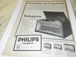 ANCIENNE PUBLICITE RADIOPHONOS PHILIPS 1958 - Radio & TSF
