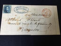 N°7 Sur Pli De Charleroi (23/12/1955) Vers Bruxelles - 1851-1857 Medallions (6/8)