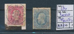 BELGIAN CONGO 1886 ISSUE USED BANANA AND RED BOMA LARGE FAULTS - 1884-1894 Voorgangers & Leopold II