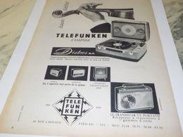 ANCIENNE PUBLICITE HAUTE FIDELITE TELEFUNKEN   1958 - Radio & TSF