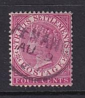 Straits Settlements: 1892/99   QV    SG98    4c   Deep Carmine   Used - Straits Settlements