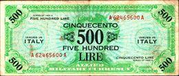 19890) BANCONOTA Da 500 AM LIRE Occupazione Militare Alleata 1943 A Bilingue -banconota Non Trattata.vedi Foto - Ocupación Aliados Segunda Guerra Mundial