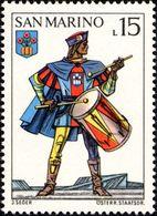 San Marino 1973 Scott 821 Sello ** Soldado Ballesteros Tamborilero Y Escudo De Montegiardino Castle Uniforms Crossbow - San Marino