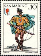 San Marino 1973 Scott 820 Sello ** Soldado Ballesteros Ballestero Y Escudo De Pluma Roja Pennarosa Castle Uniforms - San Marino