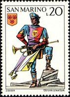 San Marino 1973 Scott 822 Sello ** Soldado Ballesteros Trompetista Y Escudo De Fiorentino Uniforms Crossbow Tournament - San Marino