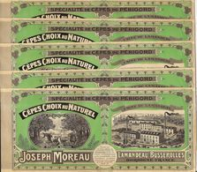 LOT 5 ETIQUETTES CHROMO CEPES JOSEPH MOREAU LAMANDEAU-BUSSEROLLES DORDOGNE - Pubblicitari