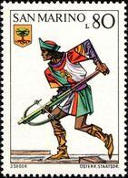 San Marino 1973 Scott 826 Sello ** Soldado Ballesteros Trompetista Y Escudo De Faetano Uniforms Crossbow Tournament - San Marino
