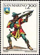 San Marino 1973 Scott 827 Sello ** Soldado Ballesteros Trompetista Y Escudo De Montelupo Castle Uniforms Crossbow - San Marino