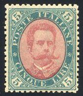 1889 UMBERTO I LIRE 5 N.49 NUOVO * FIRMA L.RAYBAUDI CENTRATISSIMO SPLENDIDO - MVLH SIGNED L.RAYBAUDI LUXUS - Nuovi