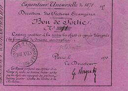 EXPOSITION UNIVERSELLE PARIS 1878 - LAISSER PASSER A LA SORTIE D'OBJETS DESIGNES - Eintrittskarten